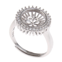 Brass Bezel Ring Base, platinum color plated, adjustable & micro pave cubic zirconia, nickel, lead & cadmium free, 21x23x15mm, Inner Diameter:Approx 3x1mm, US Ring Size:6.5, Sold By PC