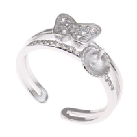 Brass Bezel Ring Base, Butterfly, platinum color plated, micro pave cubic zirconia, nickel, lead & cadmium free, 21x22x10mm, Inner Diameter:Approx 3x1mm, US Ring Size:7.5, Sold By PC
