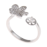 Brass Bezel Ring Base, Butterfly, platinum color plated, micro pave cubic zirconia, nickel, lead & cadmium free, 20x21x10mm, Inner Diameter:Approx 1x3mm, US Ring Size:6.5, Sold By PC