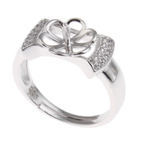 Brass Bezel Ring Base, platinum color plated, adjustable & micro pave cubic zirconia, nickel, lead & cadmium free, 21x21x10mm, Inner Diameter:Approx 3x1mm, US Ring Size:7.5, Sold By PC