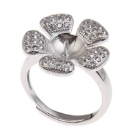 Brass Bezel Ring Base, Flower, platinum color plated, adjustable & micro pave cubic zirconia, nickel, lead & cadmium free, 20x24x18mm, Inner Diameter:Approx 3x1mm, US Ring Size:6.5, Sold By PC