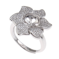Brass Bezel Ring Base, Flower, platinum color plated, adjustable & micro pave cubic zirconia, nickel, lead & cadmium free, 21x25x20mm, Inner Diameter:Approx 3x1, 8mm, US Ring Size:6.5, Sold By PC