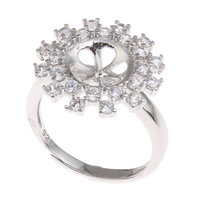 Brass Bezel Ring Base, Flower, platinum color plated, adjustable & with cubic zirconia, nickel, lead & cadmium free, 20x23x17mm, Inner Diameter:Approx 3x1mm, US Ring Size:6.5, Sold By PC
