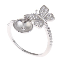 Brass Bezel Ring Base, Butterfly, platinum color plated, micro pave cubic zirconia, nickel, lead & cadmium free, 23x23x20mm, Inner Diameter:Approx 3x1, 8mm, US Ring Size:9, Sold By PC
