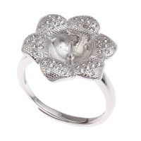 Brass Bezel Ring Base, Flower, platinum color plated, adjustable & micro pave cubic zirconia, nickel, lead & cadmium free, 22x25x18mm, Inner Diameter:Approx 3x1, 8mm, US Ring Size:7.5, Sold By PC