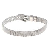 Klaring Fashion Bracelet, Roestvrij staal, verstelbaar, oorspronkelijke kleur, 6x1mm, Per verkocht Ca 8 inch Strand