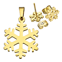 Fashion Stainless Steel Jewelry Sets, pendant & earring, Snowflake, gold color plated, 17.5x23x1mm, 9x10x12.5mm, Hole:Approx 3x4.5mm, Sold By Set