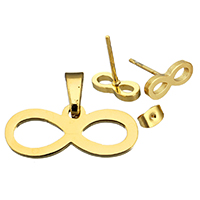 Fashion Stainless Steel Jewelry Sets, pendant & earring, Infinity, gold color plated, 20x8x1.5mm, 10x4x12mm, Hole:Approx 3x5mm, Sold By Set