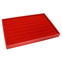 Velveteen Jewelry Set Box, finger ring & earring, with Cardboard, Rectangle, red, 350x240x32mm, Sold By PC