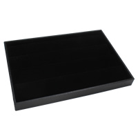Velveteen Jewelry Set Box, finger ring & earring & necklace, with Cardboard, Rectangle, black, 350x240x32mm, Sold By PC