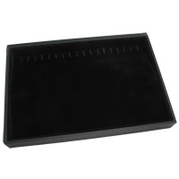 Velveteen Jewelry Set Box, bracelet & necklace, with Cardboard, Rectangle, black, 350x240x32mm, Sold By PC