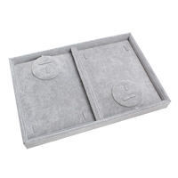 Velveteen Jewelry Set Box, finger ring & necklace, with Cardboard, Rectangle, grey, 350x240x32mm, Sold By PC