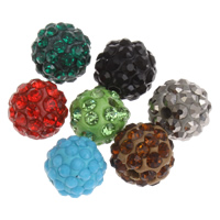Rhinestone Clay Pave Beads, Round, with rhinestone, more colors for choice, 10mm, Hole:Approx 1.5mm, 10PCs/Bag, Sold By Bag