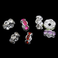 Rhinestone Spacers, Iron, Round, silver color plated, with rhinestone, more colors for choice, lead & cadmium free, 5x2mm, Hole:Approx 1mm, 100PCs/Bag, Sold By Bag