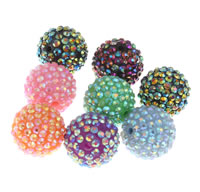 Rhinestone Jewelry Beads, Resin Rhinestone, Round, more colors for choice, 22x20mm, Hole:Approx 3mm, 10PCs/Bag, Sold By Bag