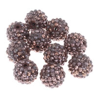 Resin Rhinestone Beads, Round, deep coffee color, 16mm, Hole:Approx 2.5mm, 10PCs/Bag, Sold By Bag
