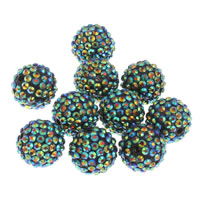 Resin Rhinestone Beads, Round, green, 20x18mm, Hole:Approx 2.5mm, 10PCs/Bag, Sold By Bag