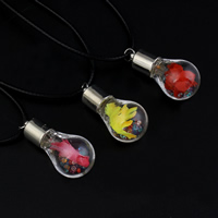 Стеклянный глобус ожерелье, с Закручивать шелк & Искусственная кожа & Кристаллы, цинковый сплав Замок-карабин, Много цветов для выбора, 17x35mm, Продан через Приблизительно 17 дюймовый Strand