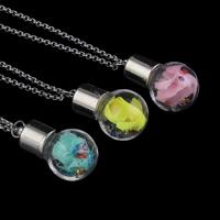 Стеклянный глобус ожерелье, с медные цепи & Закручивать шелк & Кристаллы, Платиновое покрытие платиновым цвет, Роло цепь, Много цветов для выбора, 16x30mm, Продан через Приблизительно 18 дюймовый Strand