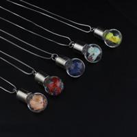 Стеклянный глобус ожерелье, с медные цепи & Закручивать шелк & Кристаллы, Платиновое покрытие платиновым цвет, Цепной ящик, Много цветов для выбора, 16x30mm, Продан через Приблизительно 18 дюймовый Strand