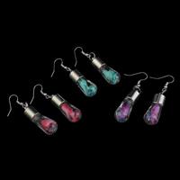 Стеклянный Сережка, с Закручивать шелк & Кристаллы & Пластик с медным покрытием, железо крюк, Другое покрытие, Много цветов для выбора, 12x50mm, продается Пара