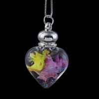 Стеклянный Ожерелье, с медные цепи & Закручивать шелк & Кристаллы, Сердце, Платиновое покрытие платиновым цвет, Цепной ящик, 32x49x16mm, Продан через Приблизительно 17 дюймовый Strand