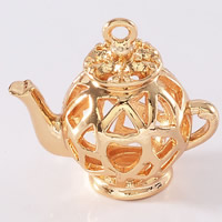 24K Gold Pendant, Brass, Teapot, 24K gold plated, hollow, lead & cadmium free, 16.5x18mm, Hole:Approx 1-2mm, 20PCs/Bag, Sold By Bag