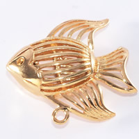 24K Gold Pendant, Brass, Fish, 24K gold plated, hollow, lead & cadmium free, 18x15mm, Hole:Approx 1-2mm, 20PCs/Bag, Sold By Bag