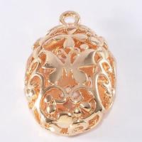 24K золотой кулон, Латунь, Плоская овальная форма, Позолоченные 24k, отверстие, не содержит свинец и кадмий, 18x13mm, отверстие:Приблизительно 1-2mm, 20ПК/сумка, продается сумка