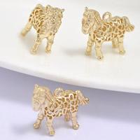 24K золотой кулон, Латунь, Лошадь, Позолоченные 24k, отверстие, не содержит свинец и кадмий, 18x6x15mm, отверстие:Приблизительно 1-2mm, 20ПК/сумка, продается сумка