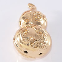 24K Gold Pendant, Brass, Calabash, 24K gold plated, hollow, lead & cadmium free, 15x27mm, Hole:Approx 1-2mm, 20PCs/Bag, Sold By Bag
