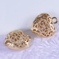 24K золотой кулон, Латунь, Сердце, Позолоченные 24k, отверстие, не содержит свинец и кадмий, 11x13x5mm, отверстие:Приблизительно 1-2mm, 20ПК/сумка, продается сумка