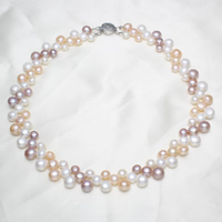 Natural Freshwater Pearl Necklace brass box clasp Baroque 6-7mm 7-8mm 8-9mm Sold Per Approx 16.5 Inch Strand