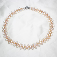 Natural Freshwater Pearl Necklace brass box clasp 5-6mm 7-8mm Sold Per Approx 18.5 Inch Strand