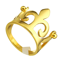 Stainless Steel Finger Ring, Crown, gold color plated, different size for choice & for woman, 18mm, Sold By PC