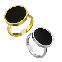 Enamel Stainless Steel Finger Ring Flat Round plated for woman 16mm