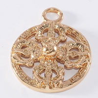 24K Gold Pendant, Brass, Flat Round, 24K gold plated, lead & cadmium free, 20mm, Hole:Approx 1-2mm, 20PCs/Bag, Sold By Bag