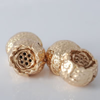 24K Gold Beads, Brass, Flower, 24K gold plated, lead & cadmium free, 10.8x8.8mm, Hole:Approx 1.5mm, 20PCs/Bag, Sold By Bag