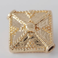 24K Gold Beads, Brass, Rhombus, 24K gold plated, lead & cadmium free, 15.2x15.8mm, Hole:Approx 1-2mm, 20PCs/Bag, Sold By Bag