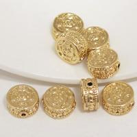 24K золото бисера, Латунь, Плоская круглая форма, Позолоченные 24k, не содержит свинец и кадмий, 11x6mm, отверстие:Приблизительно 1.5mm, 20ПК/сумка, продается сумка