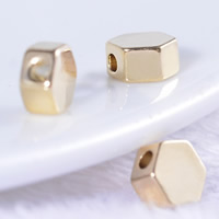 24K Gold Beads, Brass, Octagon, 24K gold plated, lead & cadmium free, 5mm, Hole:Approx 1mm, 20PCs/Bag, Sold By Bag