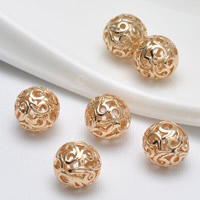 24K Gold Beads, Brass, Round, 24K gold plated, hollow, lead & cadmium free, 11mm, Hole:Approx 1.6mm, 20PCs/Bag, Sold By Bag