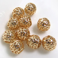 24K Gold Beads, Brass, Drum, 24K gold plated, hollow, lead & cadmium free, 10x8mm, Hole:Approx 4.5mm, 20PCs/Bag, Sold By Bag