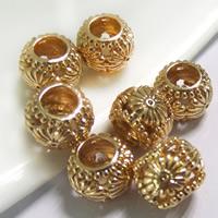 24K золото бисера, Латунь, Цилиндрическая форма, Позолоченные 24k, без Тролль, не содержит свинец и кадмий, 10x8mm, отверстие:Приблизительно 5mm, 20ПК/сумка, продается сумка