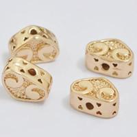 24K золото бисера, Латунь, Сердце, Позолоченные 24k, не содержит свинец и кадмий, 10x7x5mm, отверстие:Приблизительно 1-2mm, 20ПК/сумка, продается сумка