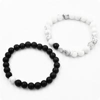 Пара браслет и браслет, Черный агат, с Природная белая бирюза, натуральный, для пара & глазированный, 8mm, длина:Приблизительно 7.5 дюймовый, 2Наборы/Лот, продается Лот