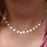 Ожерелья из металла, Железо, Плоская круглая форма, плакирован серебром, не содержит свинец и кадмий, 45cm, Продан через Приблизительно 17.5 дюймовый Strand