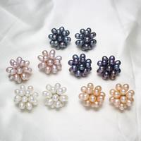 Kolczyki z pereł słodkowodnych, Perła naturalna słodkowodna, Mosiądz trzpień zapięcia, Platerowane w kolorze platyny, dostępnych więcej kolorów, 24x14mm, sprzedane przez para