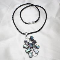 Ожерелье из ракушки, Латунь, с Искусственная кожа & Раковина морское ушко, Платиновое покрытие платиновым цвет, не содержит никель, свинец, 31x50x6mm, Продан через Приблизительно 16.5 дюймовый Strand