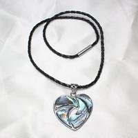 Ожерелье из ракушки, Латунь, с Искусственная кожа & Раковина морское ушко, Сердце, Платиновое покрытие платиновым цвет, не содержит никель, свинец, 35x37x4mm, Продан через Приблизительно 16.5 дюймовый Strand